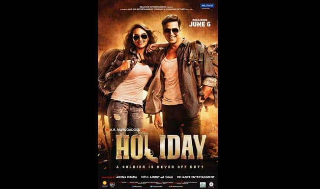 Holiday new poster: Sonakshi Sinha and Akshay Kumar in rugged denims and aviators!