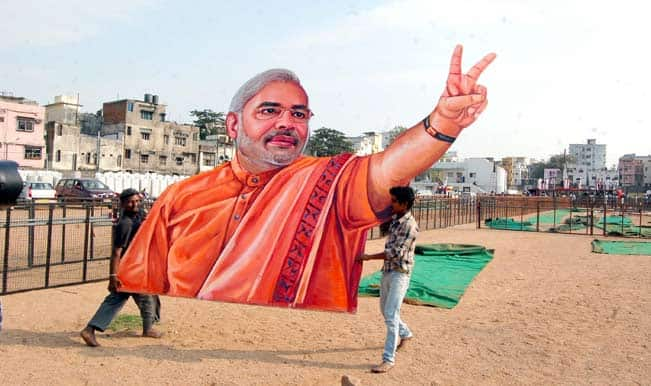 modi-Preparations-for-BJP-chief-Rajnath-Singh`s-upcoming-rally-underway-at-Nizam-Collge-Ground
