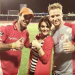 Preity Zinta poses with Glenn Maxwell, David Miller – The…