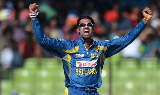 sri-lankan-cricketer-sachithra-senanayake-reacts-after-the-dismissal-of-indian-cricketer-rohit-sharma
