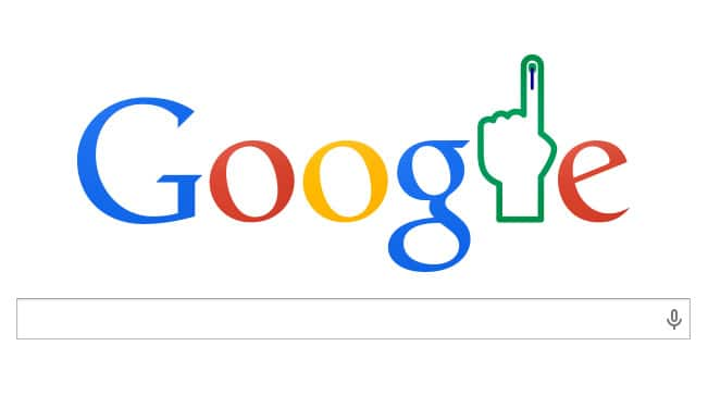 Election Results for Lok Sabha Elections 2014 marked by a Google Doodle