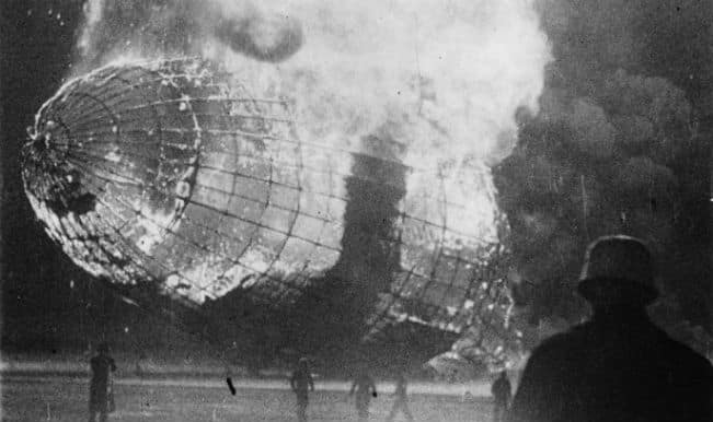The German airship 'Hindenburg' (LZ-129) in flames after the disaster on its arrival at Lakehurst, New Jersey. (GettyImages)