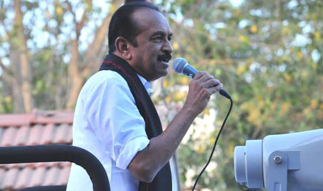 Vaiko holds protest against Sri Lankan President Mahinda Rajapaksa, detained