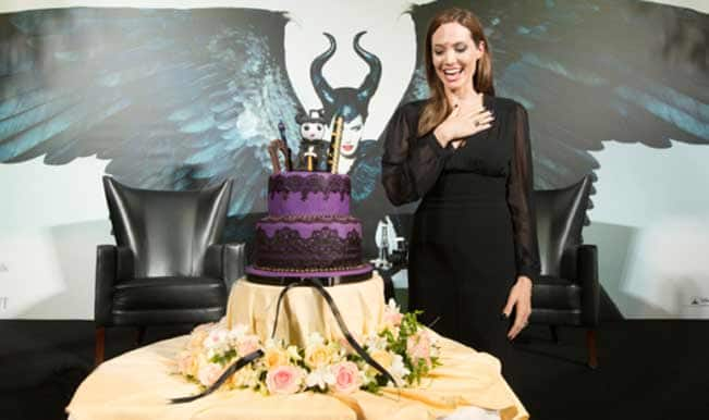 Angelina celebrates her birthday with Maleficent cake!