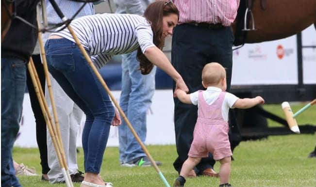 Britain's future king Prince George takes his first steps
