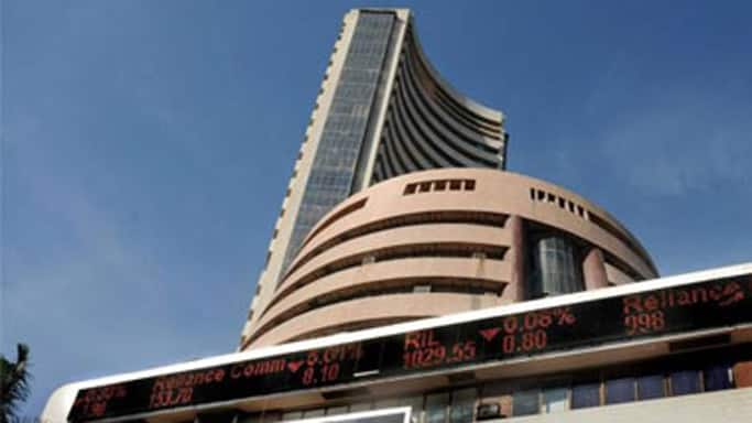 Sensex trades down after touching record high