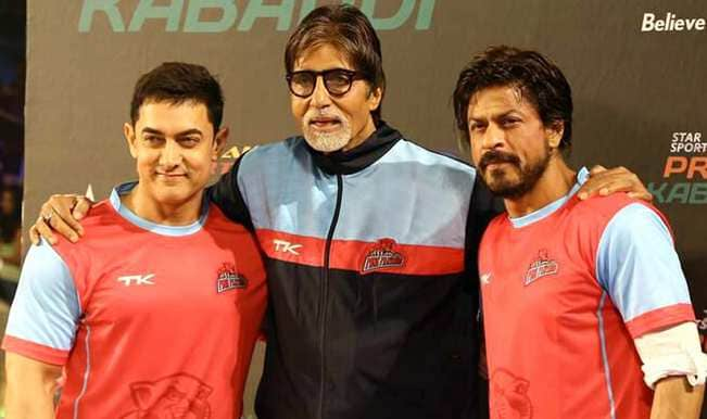 Aamir Khan, Amitabh Bachchan and Shahrukh Khan during Pro Kabaddi League