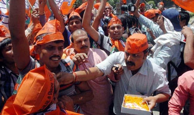 Bharatiya Janata Party workers celebrate over Amit Shah's election as new party President