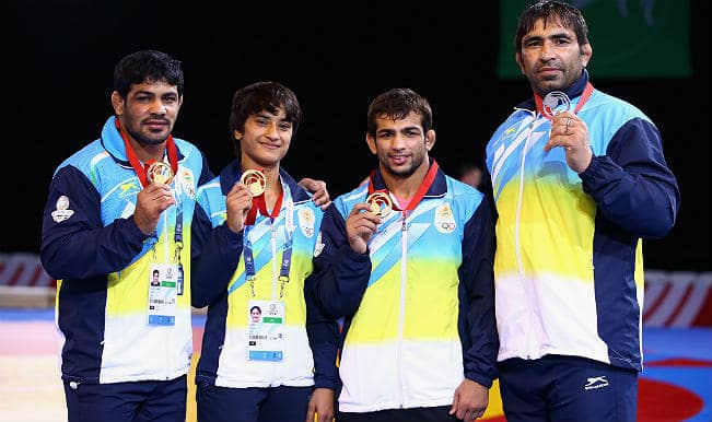 Sushil Kumar leads India's gold rush win in wrestling at Commonweatlh Games 2014