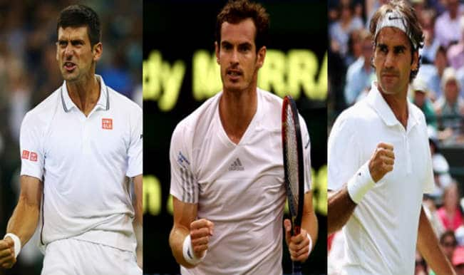 Novak Djokovic, Andy Murray and Roger Federer