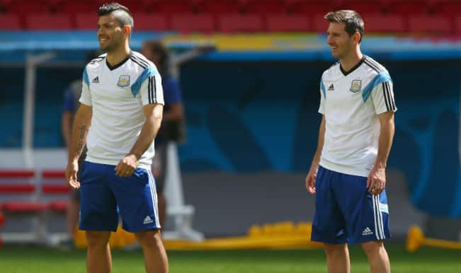 Sergio Aguero back in Argentina training for Belgium meeting