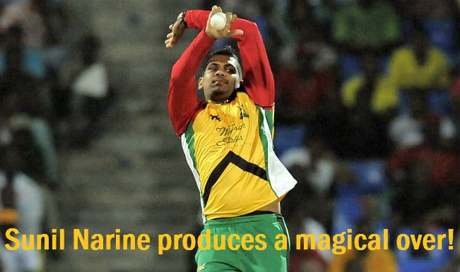 Sunil Narine delivers the impossible; a wicket-maiden over in a Super Over!