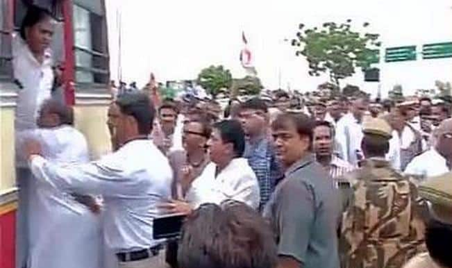 UP police stops Congress ANI photo