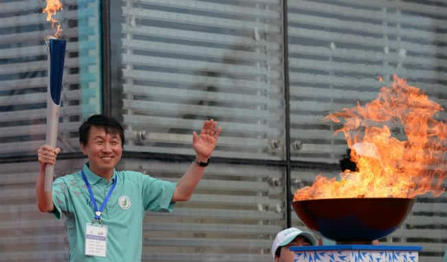 Asian Games torch unified with Incheon flame