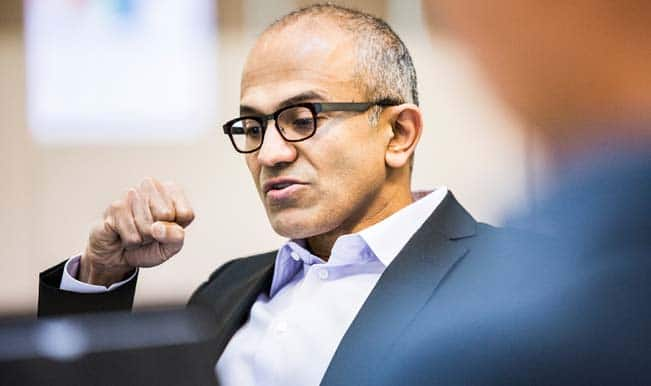 Microsoft CEO Satya Nadella gets doused with bucket of ice water?