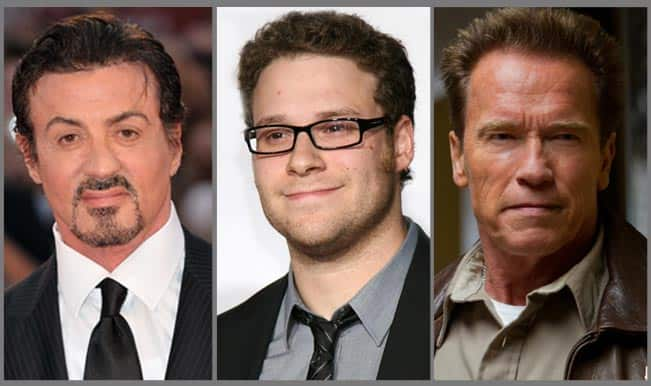 Arnold Schwarzenegger, Sylvester Stallone and Seth Rogen campaign for peace in Middle East