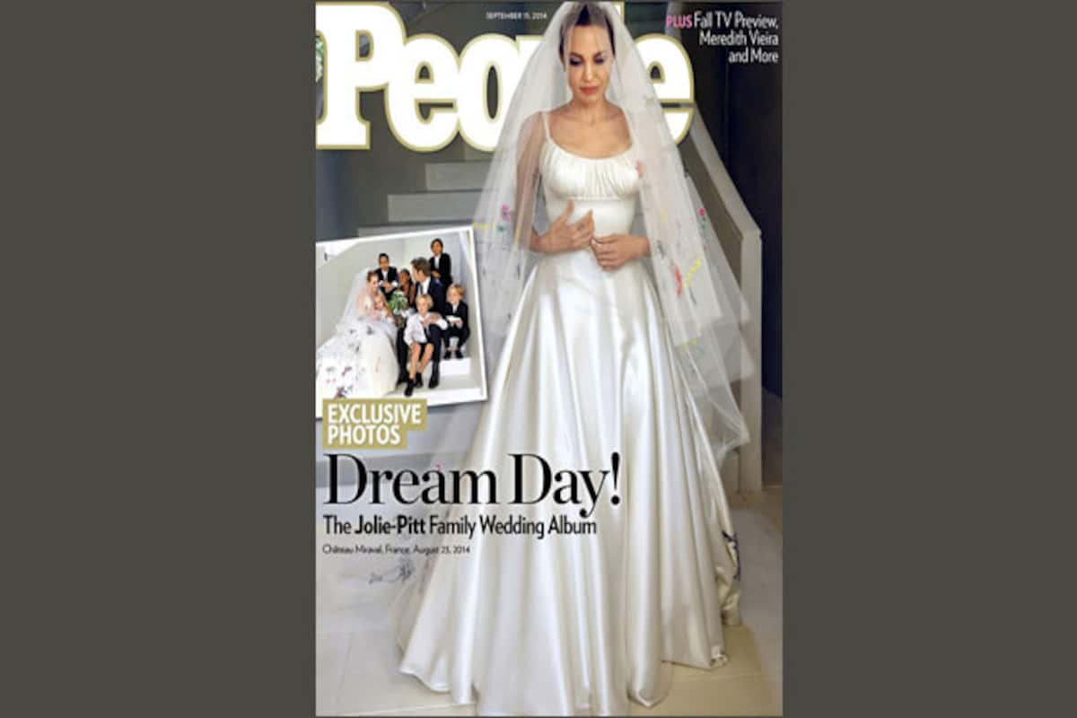 Angelina Jolie S Wedding Dress Featured Her Kids Drawings India Com