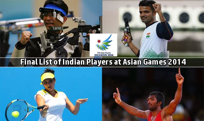 Asian Games 2014: Final List of Indian Players participating at Incheon Games