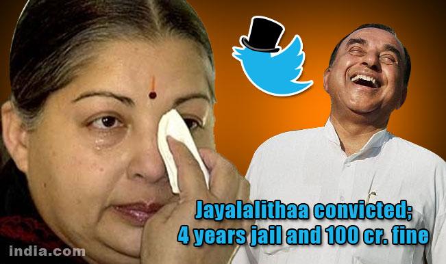 #JayaVerdict: Twitterati hails Tamil Nadu CM Jayalalithaa conviction; AIADMK chief gets 4-year jail term and 100 crore fine!