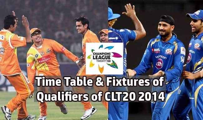 Champions League T20 2014 Schedule: Time Table & Fixtures of Qualifiers of CLT20 2014