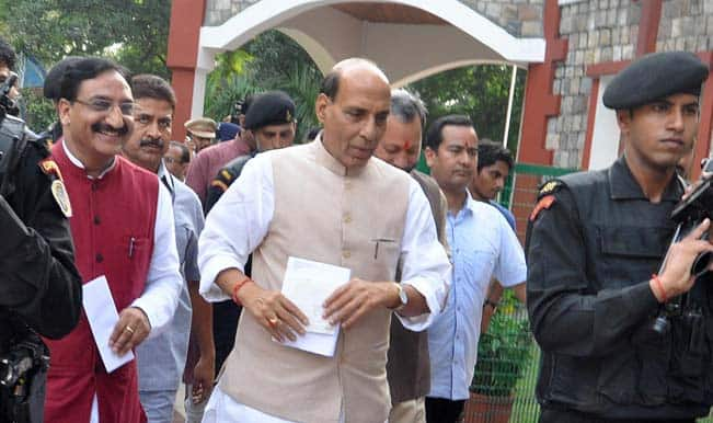 NSUI activists stage protest outside Rajnath Singh's residence