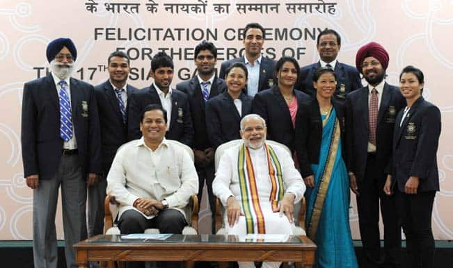 PM Narendra Modi felicitates Asian Games medallists, lauds their feats