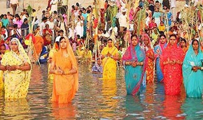 Chhath Puja begins in Ghat near the Ganga river
