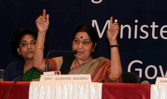Sushma Swaraj: Gandhian way 'real, live option' to confront challenges