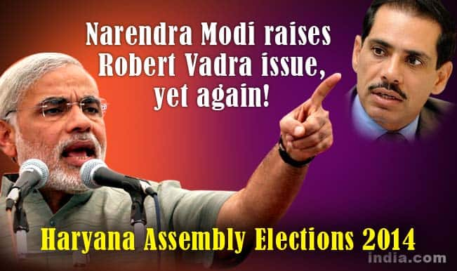 Narendra Modi questions hasty Robert Vadra land deals ahead of Haryana Assembly Elections 2014