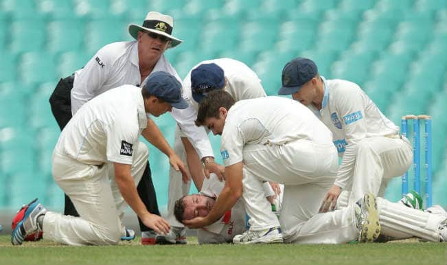 Phillip Hughes knocked down by brutal bouncer! Watch video