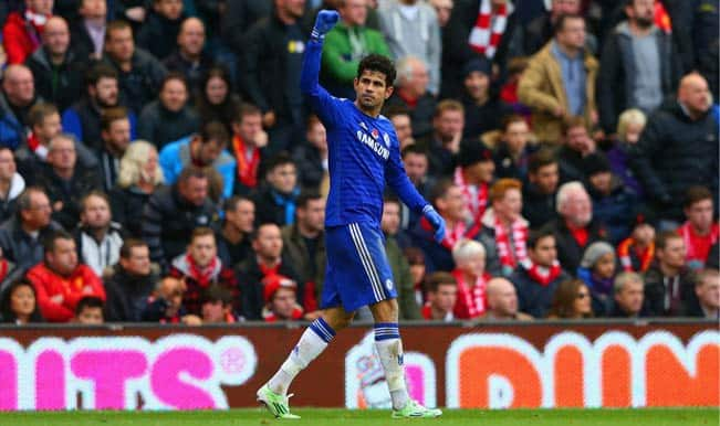 Diego Costa's second-half goal helps Chelsea beat Liverpool 2-1 at Anfield