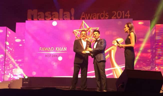 Fawad Khan bags the 'Best Bollywood Debut' Actor Trophy at Dubai 'Masala Awards 2014′