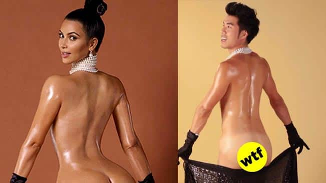Kim Kardashian epic butt-show: Now men oil their buns for an oddly erotic photo-shoot!