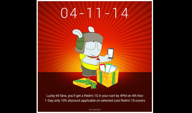 Xiaomi Redmi 1S: Flipkart to offer 100,000 units at 2pm flash sale, lucky Mi fans to get one pre-added to the cart