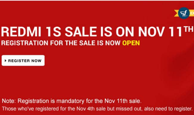 Xiaomi Redmi 1S flash sale on November 11; registration ends November 10 midnight on Flipkart