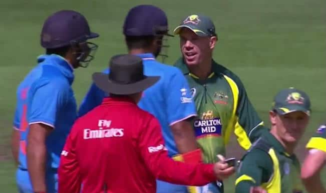 Rohit Sharma and David Warner involved in ugly on-field spat! Watch Video of IND vs AUS 2nd ODI 2015 in Melbourne