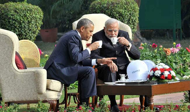 Obama in India: PM Narendra Modi hosts US President Barack Obama at 'Chai Pe Charcha' at Hyderabad House