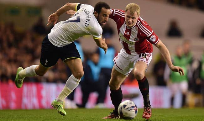 Capital One Cup 2014-15 Semi-final: Andros Townsend's penalty gives Tottenham Hotspur first-leg advantage over Sheffield United