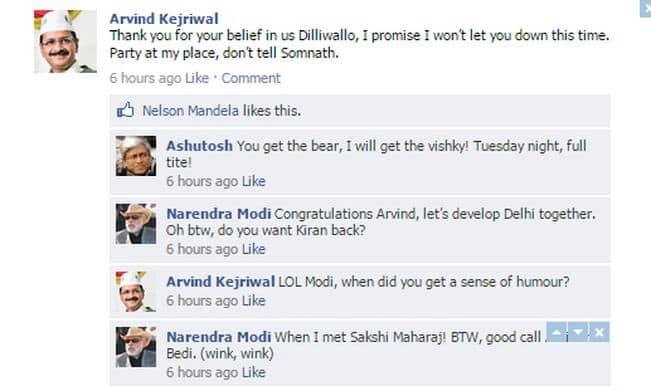 Delhi Election Results 2015: Arvind Kejriwal's Facebook Wall