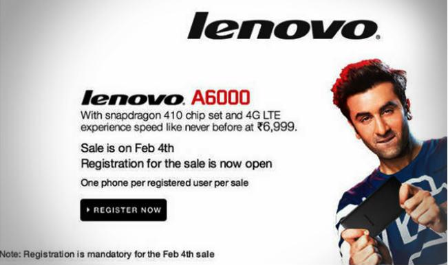 Lenovo A6000 sale on Flipkart on February 4 at 2 pm; registrations begin