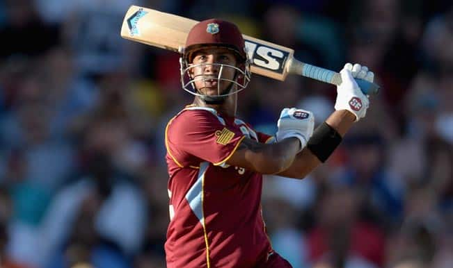 Lendl Simmons batting images India vs West Indies winning moments T20 World Cup Semi Final