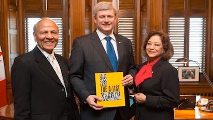 India 'A-List' Presented to Prime Minister Stephen Harper