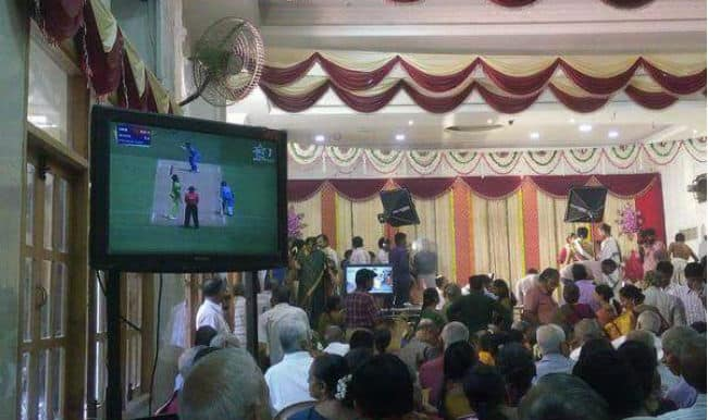 India vs Pakistan 2015 World Cup match being telecast during a marriage. No wonder Cricket is religion in India. Courtesy: India.com