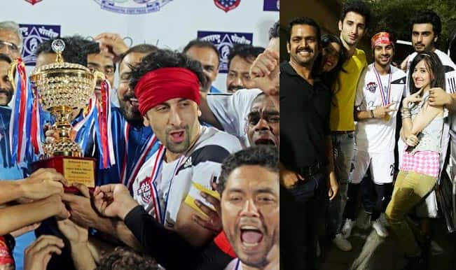 Ranbir Kapoor and Arjun Kapoor score a goal with team Badmashiyaan