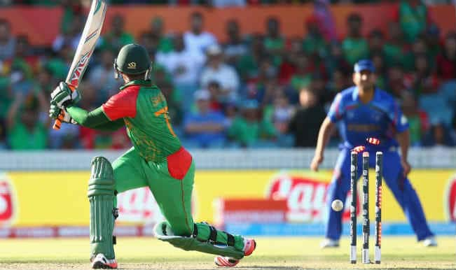 Shakib Al Hassan OUT! Bangladesh vs Afghanistan, ICC Cricket World Cup 2015 – Watch Full Video Highlights of the wicket