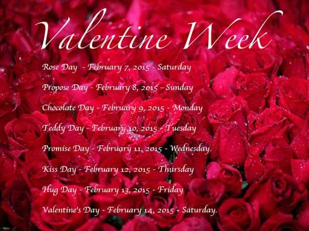 Valentine Week 2015 Dates: When is Rose Day, Kiss Day, Chocolate Day, Valentine's Day?
