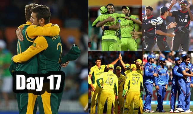 2015 Cricket World Cup Day 17: Highlights, Points Table and Schedule for upcoming matches of WC 2015