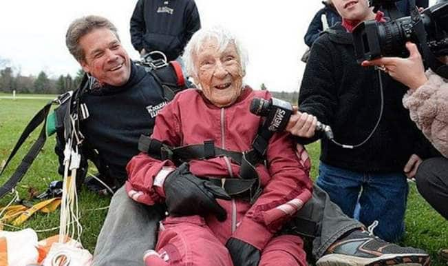 100-year-old great grandmother Georgina Harwood celebrates birthday by skydiving!