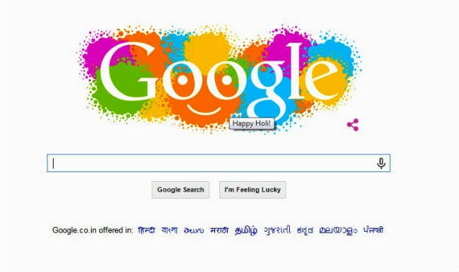 Holi 2015 Google Doodle: Colourful Smiley doodle splashed on your screen by Google!