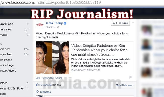 #ShameOnTimesNow to Who's your choice for a one night stand: Journalism in India stoops to new low!